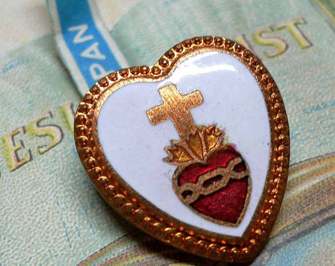 SACRED HEART PIN Vintage Copper Enamel Japan