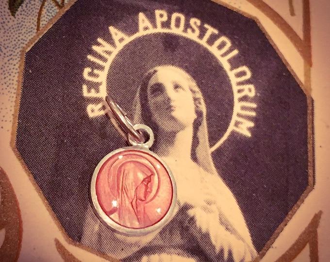 VINTAGE MARY MEDALLION Tiny Enamel Palest Rose