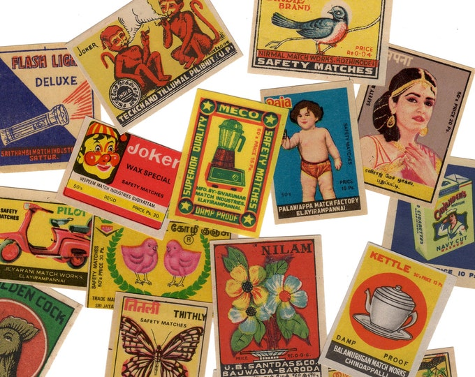 25pcs INDIAN MATCHBOX STICKERS Vintage Retro Images Set D