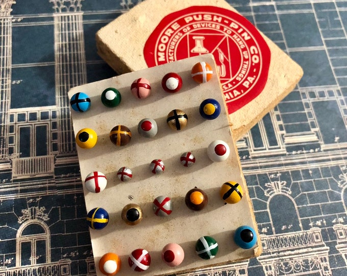 25pcs VINTAGE PAINTED TACKS Moore Map Tacks Gorgeous Colors Push Pins Thumb Tacks On Display Card Old Stationery Supply Lot