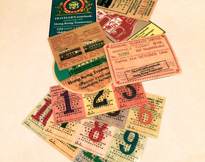 18pcs HK TRAMWAYS STICKERS Vintage Hong Kong Travel Tickets & Luggage Labels