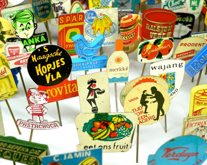 10pcs TINY ADVERTISING PINS 1960s-70s Vintage Dutch Retro Tin Lucky Dip