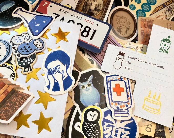 100+pcs STICKERS MYSTERY BAG Wild Mixed Assortment Art Work Ephemera Photos Animals Stamps Labels Seals Scrapbooking Small Stickers Job Lot