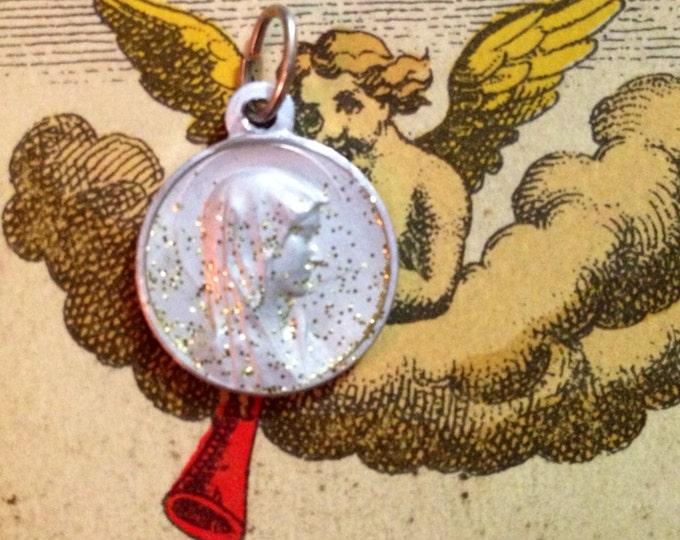 ENAMEL LOURDES MEDAL 1960s Vintage Religious Icy Glitter