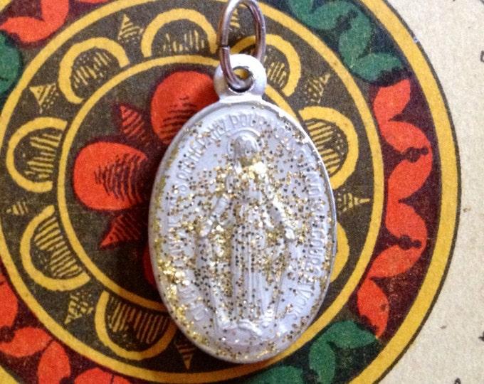 ENAMEL MIRACULOUS MEDALLION Vintage Religious Icy Glitter