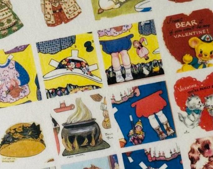 20pcs VINTAGE WASHI STICKERS Tiny Retro Style Greeting Cards Cute Animals Paper Dolls Mail Art Ephemera Pack Gift Wrap Vellum Stickers Lot F