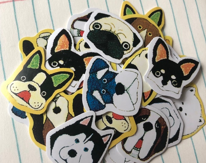 70pcs DOG FACE STICKERS Tiny Dog Seals Embellishments Mail Art Supplies Labels Scrapbooking Lot