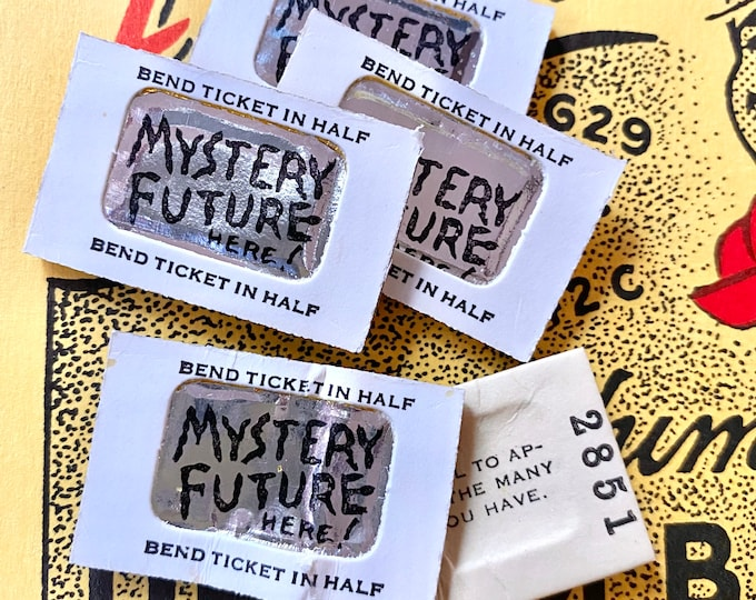 4pcs MYSTERY FORTUNE CARDS Vintage Tickets Bend To Reveal Mystery Future Message Inside Miniature Foil Exhibit Machine Prize Lot