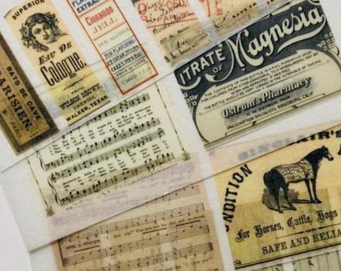 16pcs VINTAGE WASHI STICKERS Retro Style Handwriting Pharmacy Labels Sheet Music Mail Art Chemist Ephemera Gift Wrap Vellum Stickers Lot E