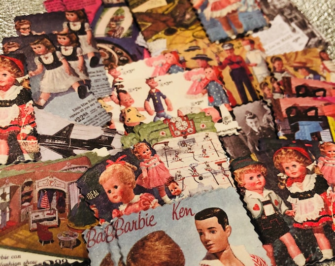 20+pcs TOY CATALOG STICKERS Vintage Retro Doll Advertisements