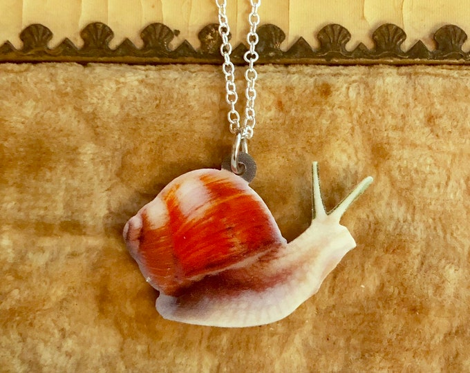 "GLIDING SNAIL NECKLACE Gastropod Couture Miniature Mollusk Jewelry On 22"" Silver Chain"