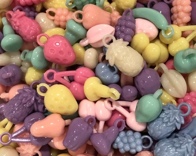 50pcs FRUIT SALAD CHARMS Pastel Fruit Beads Pendants Jewelry Plastic Charms Lot