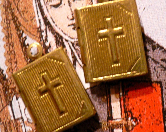 2pcs TINY BIBLE LOCKETS Vintage Religious Medals Cross Design