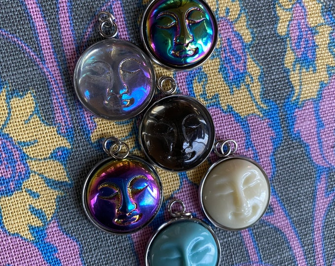 1pc MOON FACE CHARM Pressed Glass Czech Pendant Little Doll Face Halloween Man In The Moon Jewelry