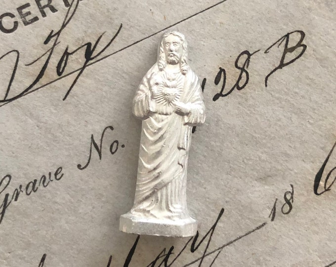 SACRED HEART STATUE Vintage Jesus Pocket Statue Vintage Religious Sacred Heart of Jesus Miniature Statue Metal Figurine Czechoslovokia