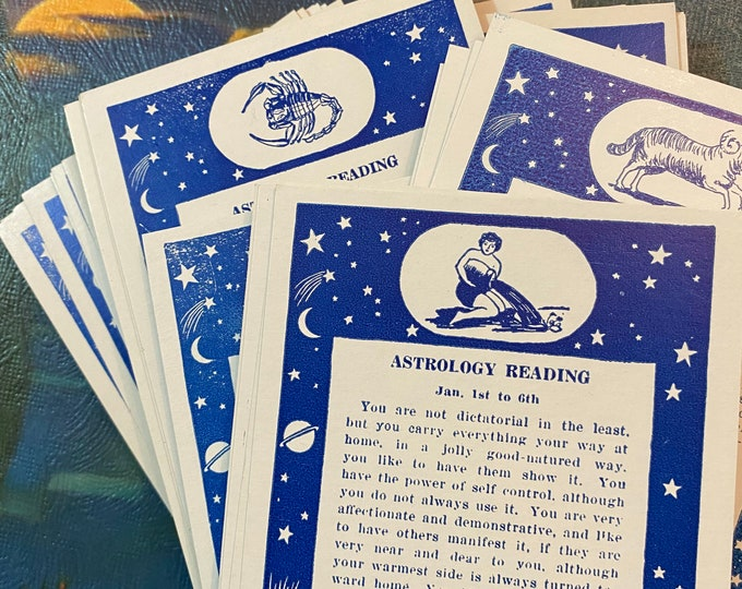 1pc ZODIAC FORTUNE CARD One Piece Genuine Vintage Birthday Card Horoscope Reading Exhibit Supply Postcard Celestial Choose Your Date Range