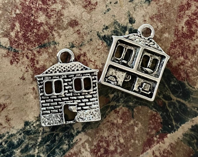 2pcs DOLL HOUSE CHARMS Miniature Double-Sided Dollhouse Pendants Cottages Open Windows Furnished Reverse Fairy Sized Jewelry