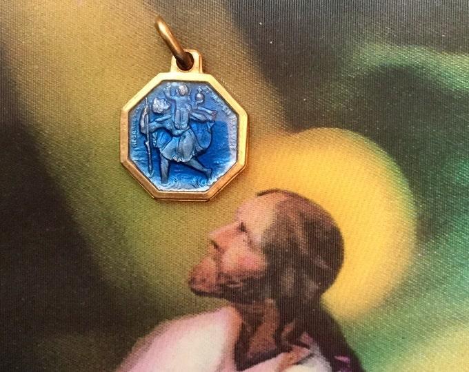 SAINT CHRISTOPHER MEDAL Vintage Religious Enamel France Gold
