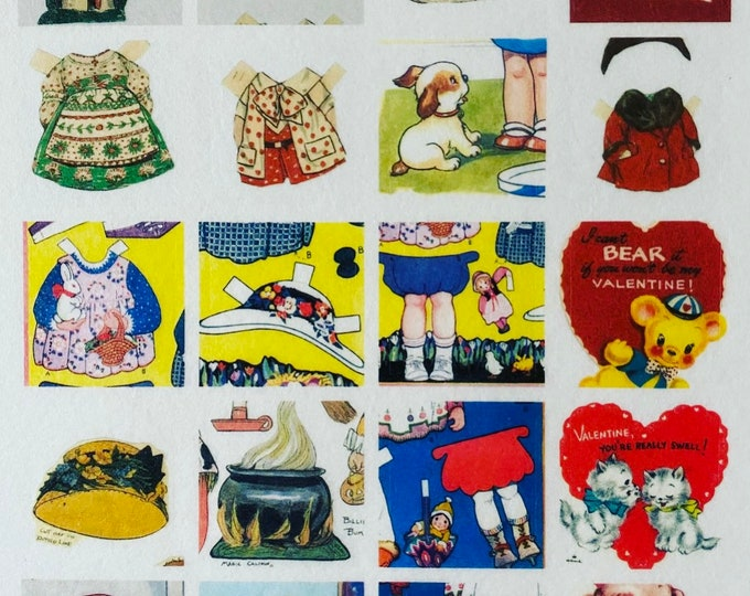 20pcs VINTAGE VELLUM STICKERS Tiny Retro Style Paper Dolls Greeting Cards Cute Animals Mail Art Ephemera Pack Gift Wrap Washi Stickers Lot G