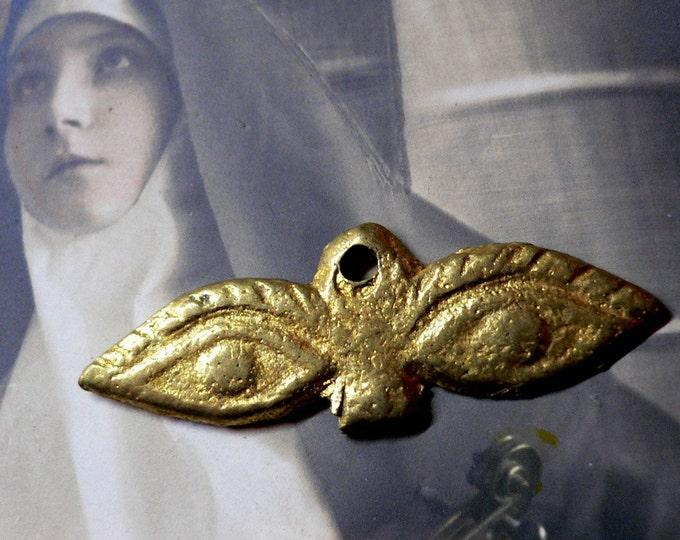 Vintage EVIL EYE MILAGRO Protection Vintage Religious Medallions Prayer Ex Voto