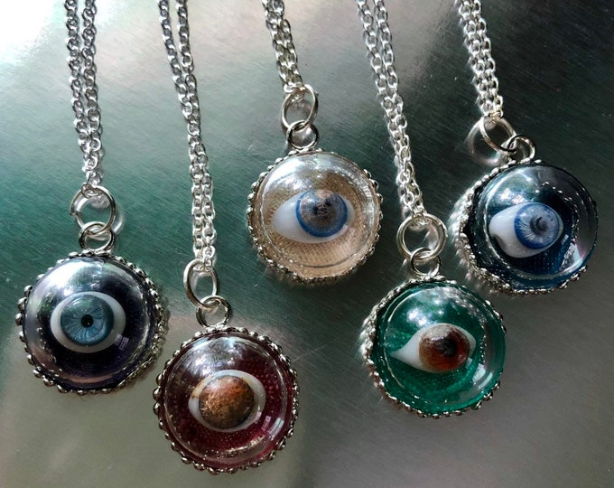 "DOLL EYE NECKLACE Antique Miniature Doll Eye Under Glass Tiny Curio Doll Part Charm Glass Eye Lover's Eye Jewelry Silver Chain 22"" Your Pick"