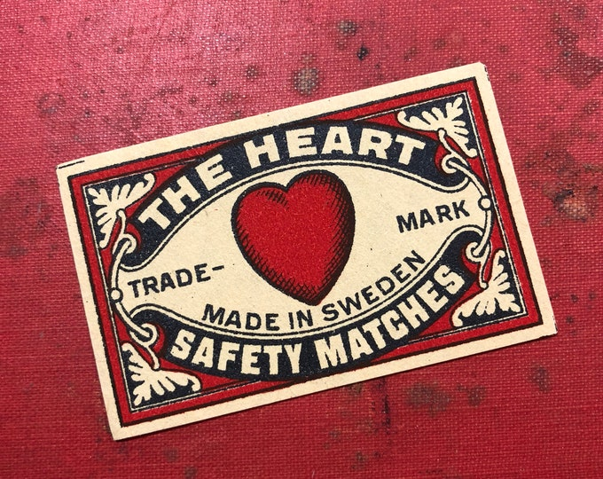 1pc THE HEART LABEL Antique Match Box Label Swedish Paper Ephemera