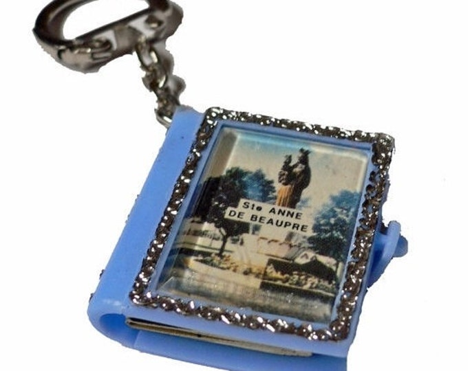 SAINT ANNE SOUVENIR 1960s Vintage Religious St. Ann Old Photos Souvenir Picture Key Chain