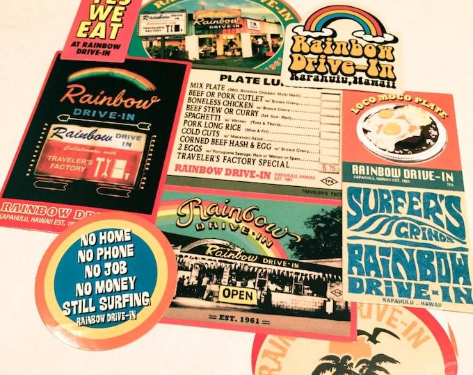 10pcs RETRO DINER STICKERS 1960s Rainbow Drive-In Hawaii