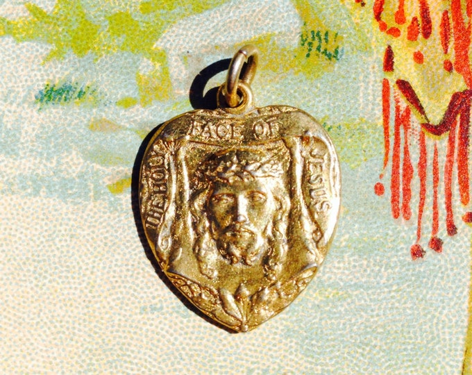 HOLY FACE MEDAL Vintage Heart St. Teresa Child Jesus