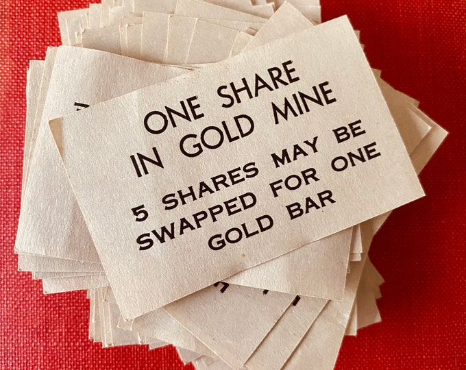 25pcs VINTAGE GAME PIECES One Share In Gold Mine 5 Shares May Be Swapped For One Gold Bar Paper Ephemera Junk Journal Lot