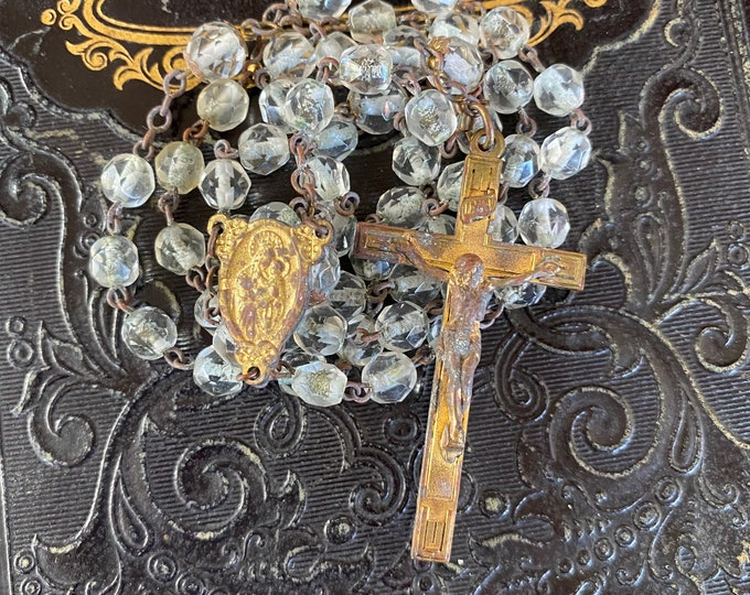 """VINTAGE GLASS ROSARY Faceted Clear Beads Old Catholic Devotional Complete 19"""""""
