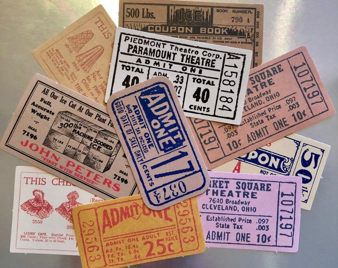 18pcs VINTAGE TICKET STICKERS Old Design Tickets Coupons Paper Ephemera Pack Scrapbooking Mail Art Labels Lot