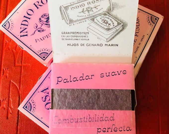 1pkg VINTAGE ROLLING PAPERS Spanish Indio Rosa Papel De Fumar Extra Fino Gorgeous Victorian Revival Design