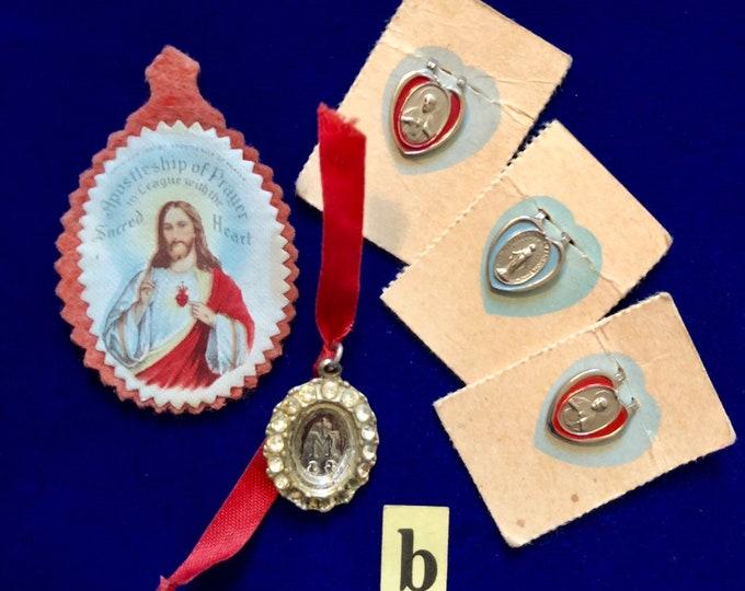 5pcs VINTAGE RELIGIOUS LOT Sacred Heart League Scapular Lapel Pins Miraculous Medallion Charm Medal Paste Stones Catholic Lot B