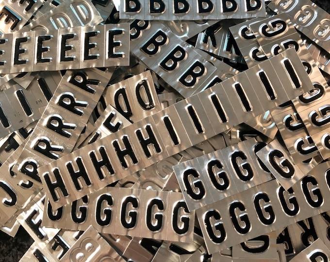 12pcs VINTAGE LETTER STAMPINGS Small Retro Painted Aluminum Letters Embellishments Alphabet Assemblage Personalized Lot