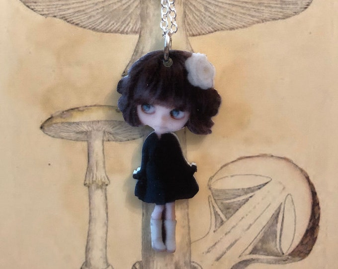 "DOLL MINIATURE NECKLACE Tiny Blythe Brunette Hair Black Dress Acrylic Charm Pendant Jewelry 22"" Silver Chain"