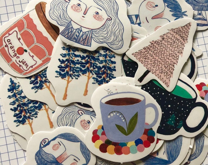 45pcs NORDIC LIFE STICKERS Hand Drawn Vintage Style Faces & Trees Coffee Tea Men Women Quirky Whimsical Labels Seals Stickers Lot