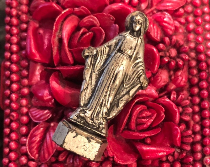 VIRGIN MARY STATUE Vintage Pocket Statue Vintage Religious Statuette Virgin Mary Our Lady Miniature Statue Metal Figurine