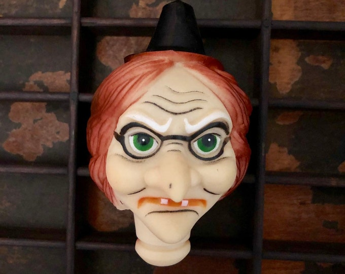 "1pc VINTAGE WITCH HEAD Old 4""  Halloween Doll Head Crafting Supplies Plastic Doll Face"