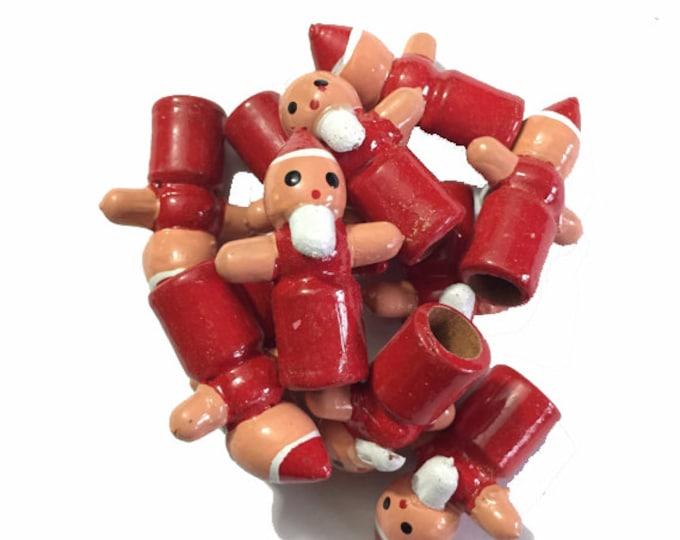 3pcs TINY WOODEN SANTA Vintage Crafting Supplies