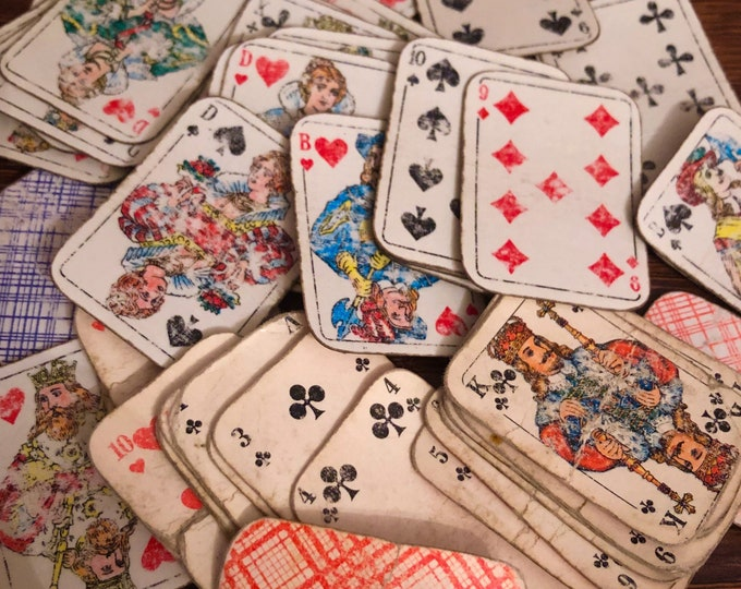 10pcs TINY ANTIQUE CARDS 1900s Miniature Playing Cards Distressed & Worn Assemblage Embellishments Lot Germany