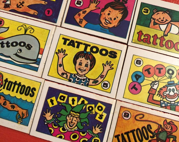1pc VINTAGE TATTOO BOOK 1970s Cracker Jack Prize Miniature Book Temporary Tattoos Old School Childhood Treasures Your Pick