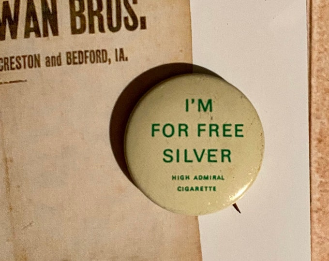 1896 POLITICAL CAMPAIGN BUTTON William Jennings Bryan Tin Litho Vintage 1970s Repro Pin Back