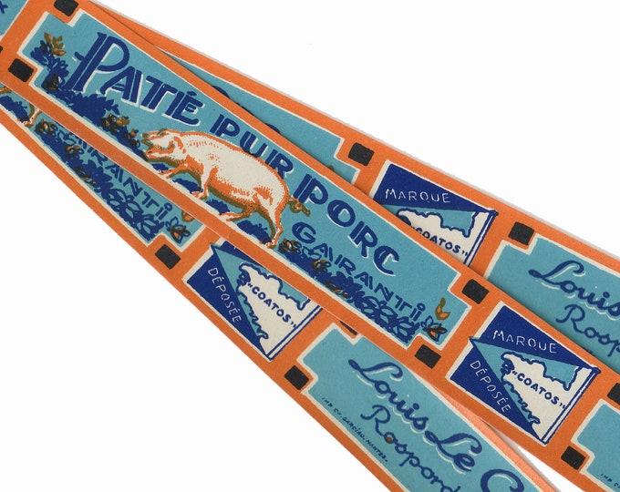 2pcs FRENCH PATE LABELS 1930s Antique Vintage Paper Ephemera Pork Pate