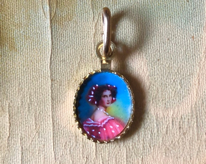 MINIATURE VINTAGE CAMEO Old Italian Handpainted Glass Lady In Aged Yellow Brass Tiny Portrait Charm Pendant 10mm