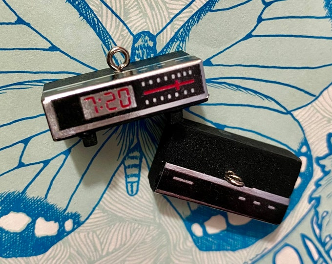 1pc CLOCK RADIO CHARM Vintage Miniature Wood + Foil Old School Electronics 1970s Doll House Jewelry