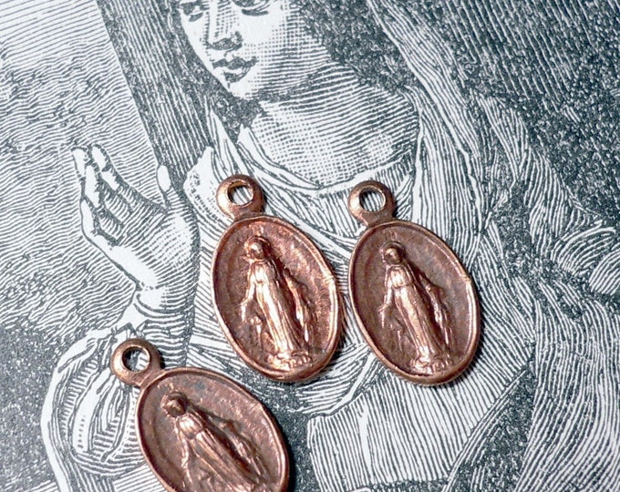 3pcs TINY MARY MEDALS Vintage Religious Miraculous Copper Charms