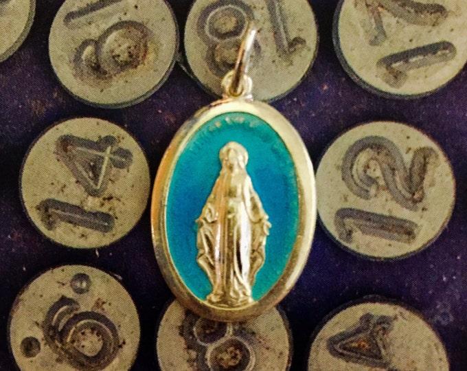 ENAMEL MIRACULOUS MEDALLION Vintage Religious Virgin Mary Silver Plate Italy