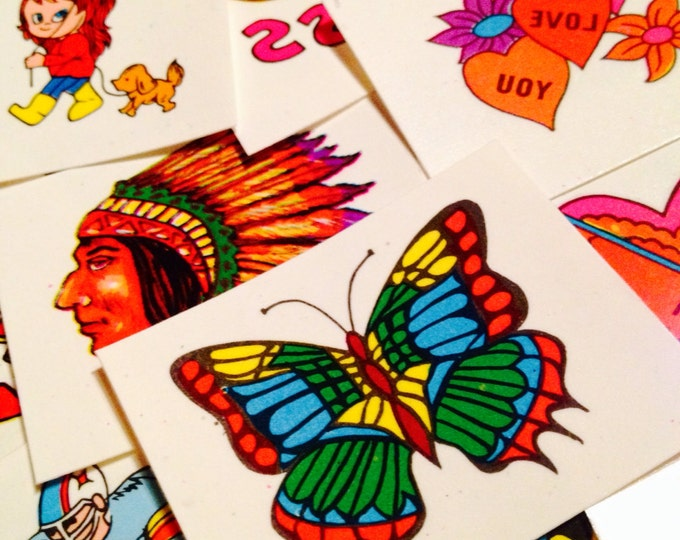 10pcs VINTAGE TEMPORARY TATTOOS Old Store Stock Hippie Hearts & More