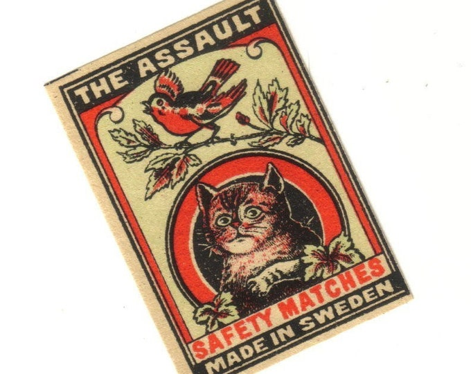 Antique 1910s THE ASSAULT Match Label Cat On Bird